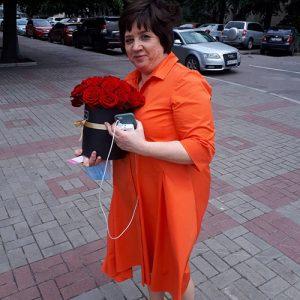 21 роза в шляпной коробке фото букета