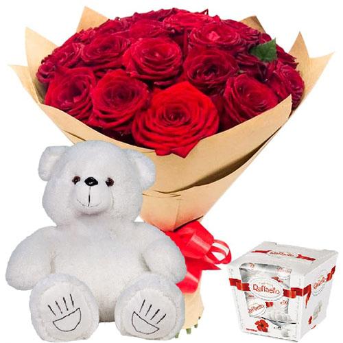 """njdfh 25 роз, """"Raffaello"""" и мишка"""